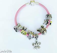 bracelet with charms pink leather'ette for girls childrens in gift pouch bear