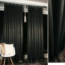 HANDMADE BLACK GOLD GLITTER BLACKOUT CURTAINS DRAPERY PANEL -FREE FEDEX SERVICE-