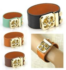 Women Genuine Leather Bracelet Gold Twist Lock Bangle Wide Cuff Wristband Rivet