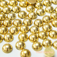 Metallic Gold (1.5mm - 8mm) Flatback Half Pearl Round Scrapbook Nail Art Craft