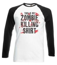THIS IS MY ZOMBIE KILLING SHIRT BASEBALL T-SHIRT ZOMBIE APOCALYPSE HALLOWEEN