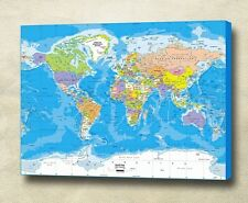 World Map Gallery Wrapped Giclee Canvas Print  !