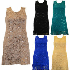 Womens Lace Lined Sequin Dress Evening Party Plus Size - 12 14 16 18 20 22 24 26