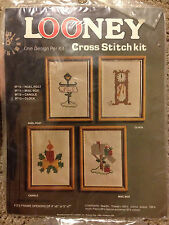Looney Stamped Cross Stitch Stove Coffee Candle Butterfly Flower Vintage Sealed