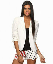 Forever 21 one Botton Basic Career Jacket Coat Solid White Pink AA260 Lowest $$