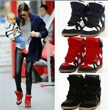 Women's Velcro Strap High-TOP Sneakers Shoes/Ladys Ankle Wedge Boots Shoes