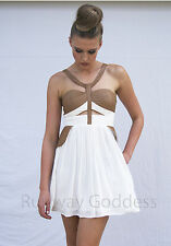 NEW Hunger Games Cut-out White & Brown Faux Leather Casual Peplum Party Dress 8