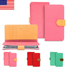 Women Folding Book Wallet Style Clutch Purse Bag Cover Case For Smart Phone Cell
