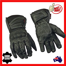 Mens Leather Mesh Summer Motorcycle Motorbike  Gloves With Kevlar New Black