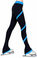 Ice Figure Skating Practice Polar Fleece Spiral Trousers Pants - Deep Sky Blue