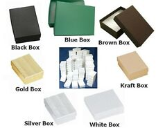 """100 COTTONFILLED BOXES 2 5/8"""" x 1 1/2"""" x 1"""" for Jewelry/Gifts. You Choose Color."""