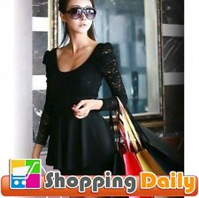 Ladies  Sexy Black Lace Mini Clubbing Cocktail Party Dress
