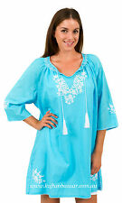 """New Spirituelle """"Gaby"""" Embroided Tunic Free Size Dress or Top – """"Aqua & White"""""""