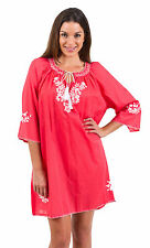 """New Spirituelle """"Gaby"""" Embroided Tunic Free Size Dress or Top – """"Coral & White"""""""