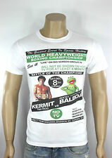 ROCKY VS KERMIT White T-shirt Frog Sly Stallone The Muppets Boxing Madison USA
