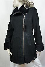 NEW 100% REAL GENUINE SHEARLING SUEDE LEATHER BLACK COAT JACKET FUR WARM, XS-6XL