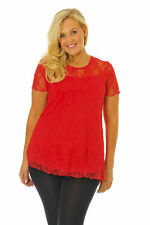 New Womens Scarlet Sexy Lace Lined Tunic Top T-Shirt Nouvelle Plus Size 12-26