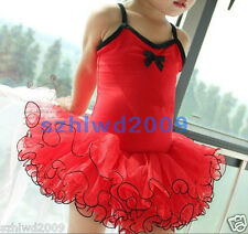 New Girls Fairy Princess Ballet Costume Tutu Dance Leotards Skirt Dress 3-8Y Red
