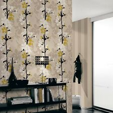 'Scandinavian Blossom' Floral Trail Wallpaper, Mocha, White & Mustard/Yellow