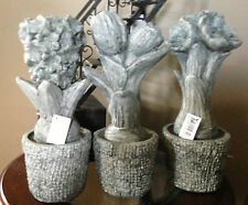 Lovely Cement Flower Bulb Sculpture~3 Styles~Daffodil~Tulip~Hyacinth~No Watering
