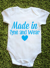 Made In Tyne and Wear Baby Vest Grow Cute Funny Brit Newborn Gift England J0683