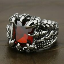 Huge Red Ruby Dragon Claw 316L Stainless Steel Mens Biker Rocker Ring N020A