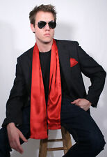 Dashing Red Silk Aviator Scarf and Pocket Square set by Royal Silk®