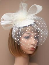 CREAM CLIP FASCINATOR MINI HAT BLACK FEATHERS  VEIL/WEDDING/FUNERAL/CHRISTENING