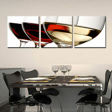 WINE/GLASS ready to hang 3 pc wall art print mounted on MDF/Improved canvas art