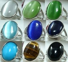 10color-13*18mm white/green/blue/black opal/agate/turquoise/tiger eye stone ring