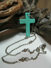 Cross Pendant Necklace Turquoise or Coral