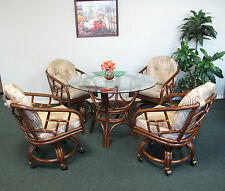 Made in USA Rattan Dining Caster Chair Table Gaming Furniture Chiba 5PC Set
