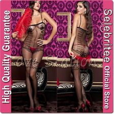 Sheer Bodystocking Open Crotch with Teddy Stocking Pattern Selecbritee C123