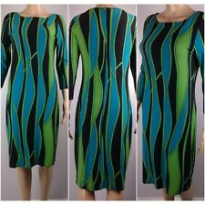 NEW EX WALLIS LADIES JERSEY SHIFT DRESS GREEN/TEAL/BLACK ABSTRACT DESIGN 8-18