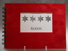 Rustic Lodge Sueded Cover CABIN GUEST BOOK with Silver Snowflake Pattern