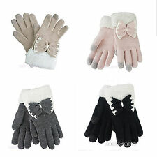 Winter Women Bowknot Touch Screen Gloves Telefingers Gloves Keep Your Hands Warm