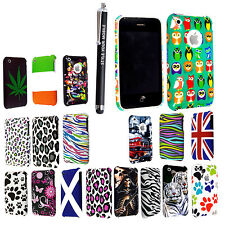 FOR APPLE IPHONE 3 3G 3GS PRINTED HARD SHELL CASE PROTECTION COVER + STYLUS