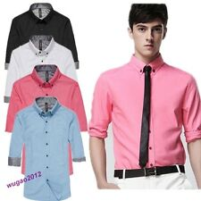 Hot Stylish Men's Luxury Casual Dress Slim Fit Tee Shirts Blouse 4 Colors 5 Size