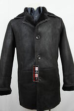New 100% Genuine Real Shearling Leather Sheepskin Men Coat Jacket Trench S-5XL