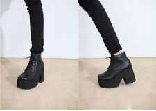 Goth Punk Thick Sole Platform Lace Up Square Toe Leatherette Wedge Ankle Boots