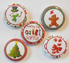 """Waiting on Santa Christmas Flatback - Pin Back Buttons 1"""" for Bows Etc"""