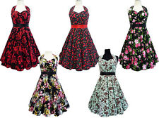 NEW VINTAGE ROCKABILLY GOTHIC PARTY PIN UP FLORAL RED BLACK ROCK PARTY DRESS
