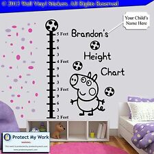 George Peppa Pig Height Chart Personalised Kids Children Name Wall Stickers