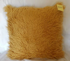 EXTRA LARGE FAUX FUR MONGOLIAN CAMEL/GOLD CUSHION COVERS WITH/WITHOUT INSERT