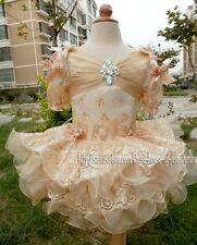 Infant Girl's National Pageant Dress Beaded Champagne Lace Size 1~10T New G004
