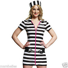 LADIES SEXY PRISONER JAILBIRD CONVICT HEN FANCY DRESS COSTUME OUTFIT SIZE S & M