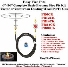 "FR_CK 6"", 12"", 18"" or 24"" Complete Basic Wood to Gas Fire Pit Conversion Kit"