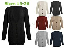 WOMENS PLUS SIZE CHUNKY CABLE KNITTED BUTTON LADIES GRANDAD LONG CARDIGAN 16-26