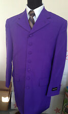 Men's long coat jacket, 7 square button zoot suit come with pants Purple #903P