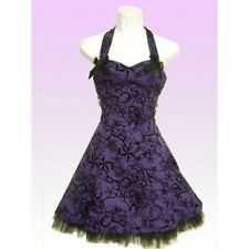 New Hearts and Roses Purple Flock Dress. Punk Rock Goth Retro Stunning Style!